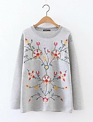 Women's Embroidery Going out Casual/Daily Simple Street chic Spring Fall T-shirt,Embroidered Letter Round Neck Long Sleeve Cotton Medium