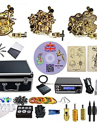 cheap -Complete Tattoo Kit 3  Machines Golden armor With LED Dual Digital Power Supply  liner & shader