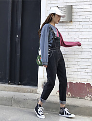 assinar nova moda primavera selvagens soltos macacões finas jeans multi-bolso nett feminina