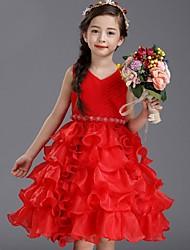 economico -vestito dalla ragazza del fiore di lunghezza del ginocchio dell'abito di sfera - collo del collo di modo del Organza con la perla da ydn