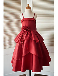 Princess Ankle Length Flower Girl Dress - Taffeta Sleeveless Spaghetti Straps with Bow(s) Flower(s) by LAN TING BRIDE®