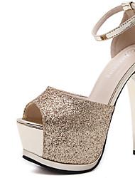 abordables -Mujer Zapatos Tejido Primavera Zapatos del club Tacones Tacón Stiletto Punta abierta Lentejuela Dorado / Plata / Vestido