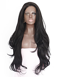 cheap -Synthetic Hair Wigs Straight Natural Hairline Heat Resistant Natural Wigs Medium Long Natural Black