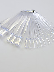 cheap -1set 50tips Transparent Nail Art Fan Board With Metal Nail Manicure Tools Nail Art False Tips For UV Polish Decoration
