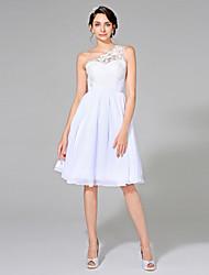 Linea-A Monospalla Al ginocchio Chiffon Vestito da sposa con Con applique Fascia / fiocco in vita di LAN TING BRIDE®