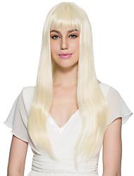 economico -Donna Parrucche sintetiche Dritto Kinky liscia Blonde Con frangia Parrucca naturale Parrucca per travestimenti