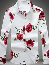 Camicia Da uomo Casual Semplice Autunno,Fantasia floreale Colletto da cerimonia con passante Cotone Manica lunga Sottile