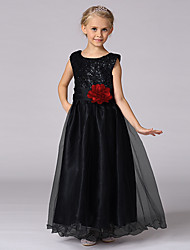 cheap -Princess Floor Length Flower Girl Dress - Satin Sleeveless Jewel Neck with Sequin by Bflower