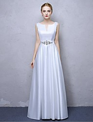 A-Line V-neck Ankle Length Satin Chiffon Formal Evening Dress with Crystal Detailing