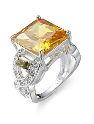 Anel Anel de noivado Zircônia cúbica Elegant Jóias de Luxo Zircão Zircônia Cubica Aço imitação de diamante Quadrado Champanhe Jóias Para