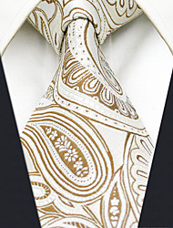 cheap -AXL6 Men's Neckties Beige Paisley 100% Silk Dress Casual Business For Men