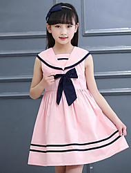 Girl's Striped Dress,Cotton Summer Sleeveless Bow Stripes White Blushing Pink Light Blue