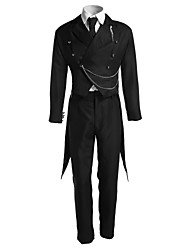 billige -Inspireret af Sort Butler Sebastian Michaelis Anime Cosplay Kostumer Cosplay Kostumer Ensfarvet Langærmet 背心 Bukser Slips Smoking Til