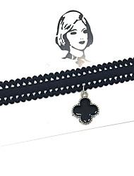 Женский Ожерелья-бархатки Ожерелья с подвесками В форме цветка Четырехлистный клевер Кружево Сплав Базовый дизайн Тату-дизайн В виде