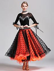Danse de Salon Robes Femme Spectacle Tulle Lycra Poi La moitié des manches Taille moyenne Robe Tour de Cou