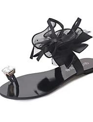 Women's Sandals Comfort PU Spring Casual Comfort Flat Heel Black Gray Flat