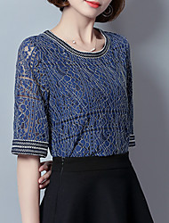 cheap -Women's Plus Size Polyester Spandex Blouse - Jacquard, Lace Cut Out