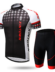 cheap -XINTOWN Men's Short Sleeves Cycling Jersey with Shorts - Black/White Black/Red 1# White+Gray Bike Clothing Suits, Quick Dry, Ultraviolet