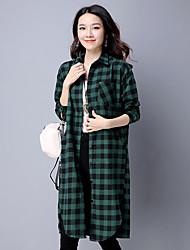 Sign Hitz Korean literary cotton shirt long-sleeved plaid dress large size women