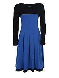 Women's Plus Size Party Vintage Sheath Dress,Color Block Deep V Knee-length Long Sleeve Blue Red Black Cotton PolyesterSummer