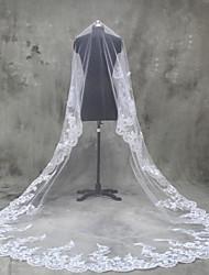Uma Camada Borda com aplicação de Renda Véus de Noiva Véu Catedral Com Apliques Tule