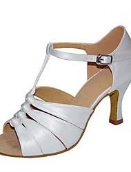 Women's Latin Jazz Salsa Swing Shoes Satin Sandal Heel Practice Beginner Professional Indoor Performance Ruffles Buckle Customized Heel