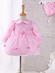 Baby Going out Casual/Daily Lace Dress Polyester Spring Fall Pink Dress with Hat