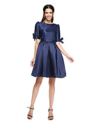 A-Line Jewel Neck Short / Mini Satin Bridesmaid Dress with Pleats by LAN TING BRIDE®
