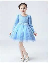 un vestito dalla ragazza di fiore della lunghezza di ginocchio a-line - manicotto lungo del merletto collo del gioiello con il merletto da likestar