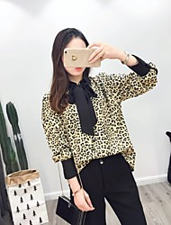 cheap -Women's Daily Going out Casual Sexy Street chic Spring Fall Shirt,Color Block Shirt Collar Long Sleeves Silk Cotton Medium