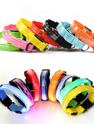 Cat Dog Collar Reflective LED Lights Adjustable/Retractable Strobe/Flashing Safety Batteries Included Solid RainbowRed Black Green Blue