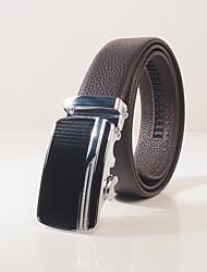 Men's head layer cowhide litchi grain fashion leisure automatic buckle belt body is about 3.6 cm wide