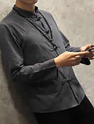 Men's Casual/Daily Simple Chinoiserie Spring Fall Shirt,Solid Standing Collar Long Sleeves Cotton Linen Medium