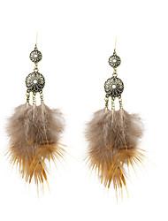 economico -bohemien donna con strass piuma orecchini classici stile femminile