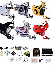 cheap -Tattoo Machine Professional Tattoo Kit - 6 pcs Tattoo Machines, Professional LCD power supply Case Included 2 steel machine liner & shader