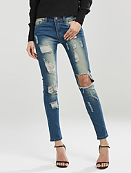 cheap -Women's Mid Rise Micro-elastic Slim Jeans Pants,Casual Street chic Solid Polyester Spring Fall