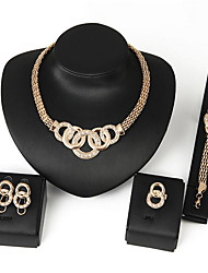 cheap -Women's Synthetic Diamond Zircon Jewelry Set 1 Necklace 1 Pair of Earrings 1 Bracelet 1 Ring - Circular Basic Turkish Hip-Hop Punk