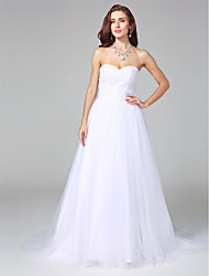 A-line Sweetheart Court Train Satin Tulle Wedding Dress with Beading Appliques