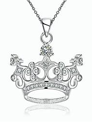 Feminino Colares com Pendentes Colares em Corrente Zircônia cúbica Formato Coroa Zircão Cobre Prata ChapeadaOriginal Pingente Amor