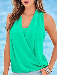 cheap -Women's Going out Plus Size Tank Top - Solid Colored Ruched V Neck / Summer / Fall