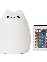 YouOKLight 1PCS USB Charging Silicone Colorful Light LED Night Light Remote Control Dimming Colorful Kids Cute Cat Night Light