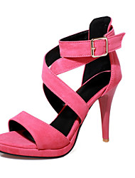 Women's Sandals Summer Club Shoes Velvet Party & Evening Dress Stiletto Heel Buckle Zipper Black Blue Green Pink Gray Orange