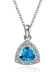 Pendant Necklaces Aquamarine AAA Cubic Zirconia Crystal Zircon Cubic Zirconia Copper Gold Plated Simulated Diamond Heart GeometricBasic