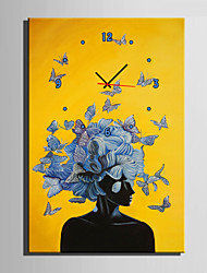 E-HOME® Blue Flowers And Butterflies On A Woman's Clock in Canvas 1pcs