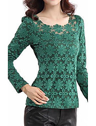 cheap -Women's Going out Street chic Plus Size Blouse - Solid Colored, Lace