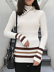 cheap -Women's Daily Wear Classic & Timeless Regular Pullover,Stripe High Neck Long Sleeves N/A Winter Spring Fall Medium Stretchy