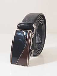 Menswear litchi grain soft head layer cowhide automatic buckle belt body is about 3.6 cm wide high quality cowhide noble example