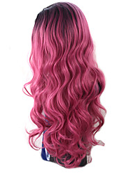 New Arrival Black Pink Ombre Color Long Wave Women Wig Heat Resisting Syntheitc Wig