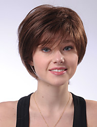 cheap -Women's Human Hair Capless Wigs Straight Side Part Bob Haircut With Bangs Short Brown