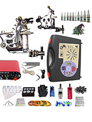 Starter Tattoo Kit 2 steel machine liner & shader Tattoo Machine Mini power supply 10 × 5ml Tattoo Ink 2 x aluminum grip